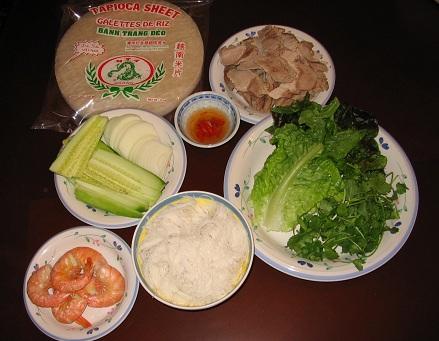Cách làm gỏi cuốn tôm thịt chấm mắm nêm, cach lam goi cuon tom thit cham mam nem