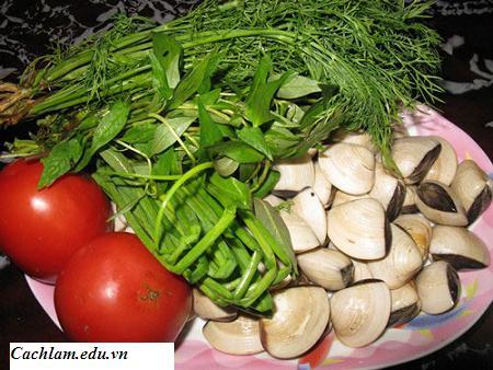 Nguyên liệu nấu canh nghêu chua, nguyen lieu nau canh ngheu chua