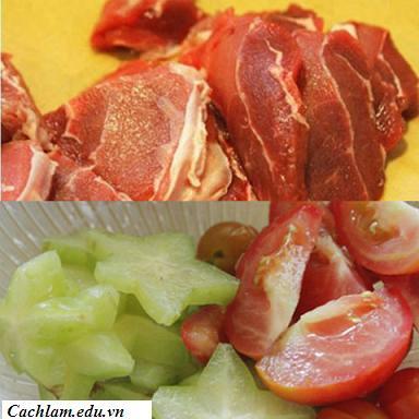 Sơ chế nguyên liệu làm canh thịt bò nấu khế, so che nguyen lieu lam xanh thit bo nau khe