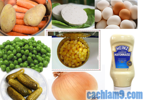 Các nguyên liệu làm Salad Nga