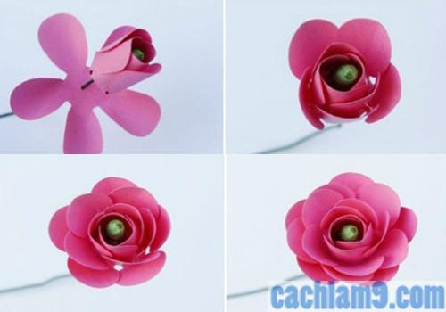 Tạo hình cho bông hoa từ giấy