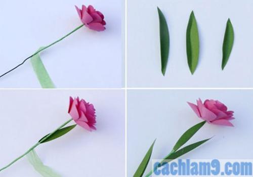 Làm lá cho hoa hồng bằng giấy