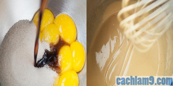 Làm hỗn hợp kem trứng cho bánh Tiramisu