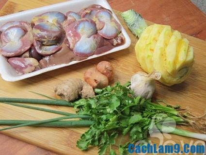 Chuẩn bị nguyên liệu cho cách làm lòng gà xào chua ngọt, chuan bi nguyen lieu cho cach lam long ga xao chua ngot