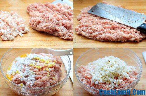 Sơ chế nguyên liệu làm thịt viên trứng cút chiên giòn, so che nguyen lieu lam thit vien trung cut chien gion
