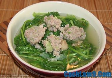 Cách nấu canh cải cúc thịt băm, cach nau canh cai cuc thit bam