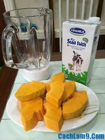Thực hiện nấu sữa bí ngô