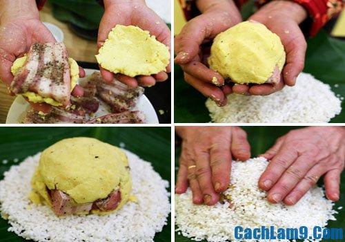 cách gói bánh chưng nhân mặn