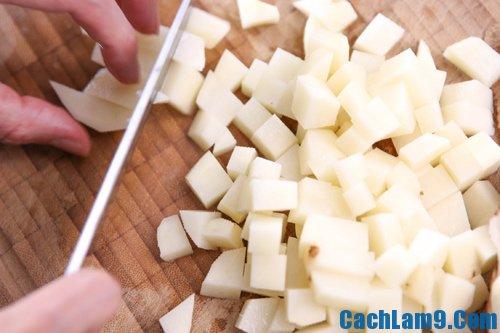 Sơ chế nguyên liệu làm bánh khoai tây thịt gà chiên giòn, so che nguyen lieu lam banh khoai tay thit ga chien gion