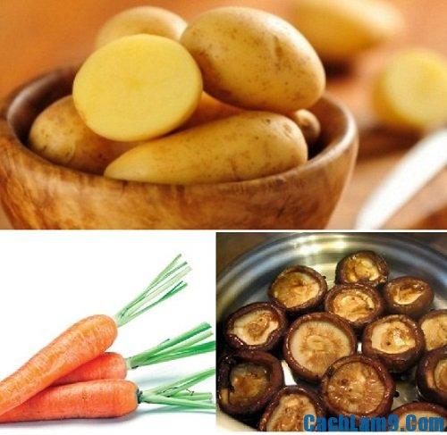 Nguyên liệu làm canh khoai tây nấu nấm