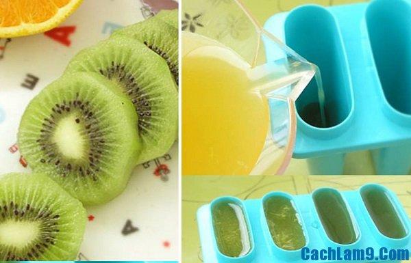 Thực hiện các bước làm kem cam kiwi