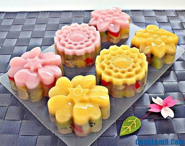 Cách làm bánh Trung thu rau câu hoa quả