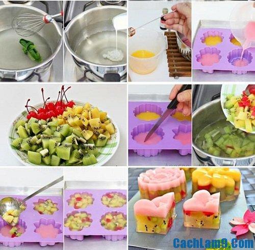 Hướng dẫn cách làm bánh Trung thu rau câu hoa quả