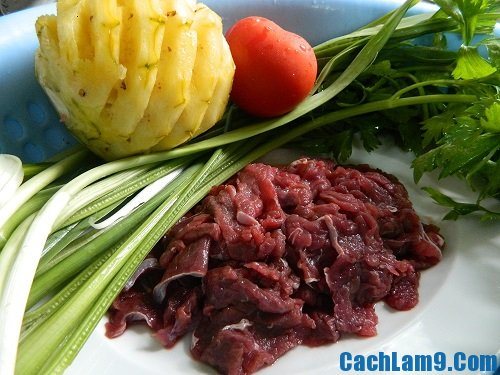 Nguyên liệu làm canh thịt bò nấu dứa