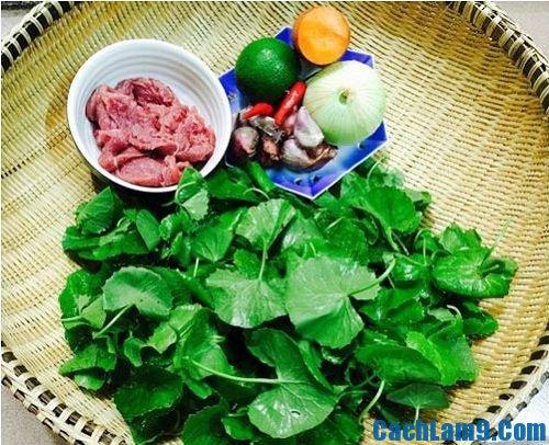 Chuẩn bị nguyên liệu làm gỏi thịt bò rau má, chuan bi nguyen lieu lam goi thit bo rau ma