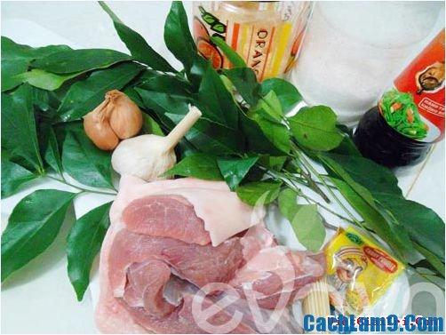 Nguyên liệu làm món thịt lợn nướng lá mắc mật