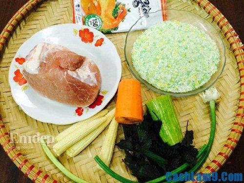 Nguyên liệu làm thăn heo cuộn rau củ chiên giòn