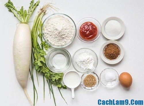 Nguyên liệu làm củ cải viên xốt cà chua