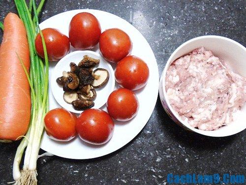Nguyên liệu làm cà chua nhồi thịt