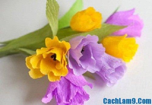 Hướng dẫn làm hoa tulip đẹp bằng vải nhún