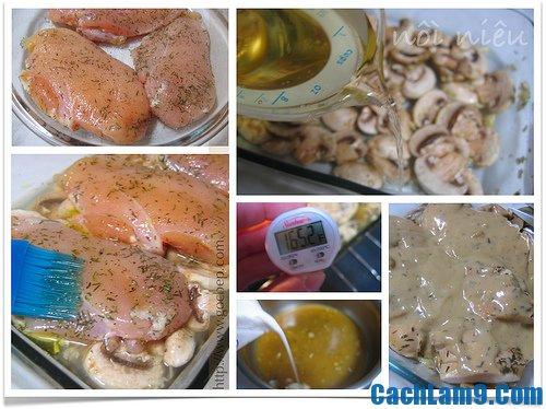 Hướng dẫn làm ức gà nướng nấm