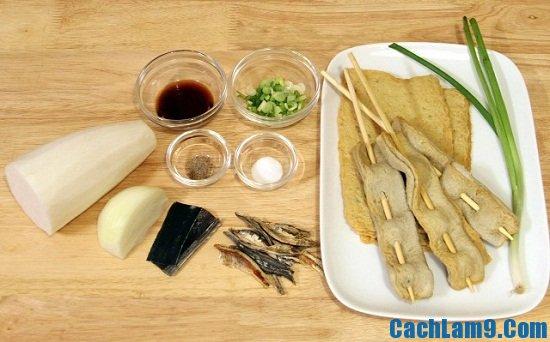 Nguyên liệu làm canh chả cá kiểu Hàn