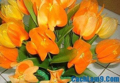 Cách làm hoa tulip bằng vải lụa
