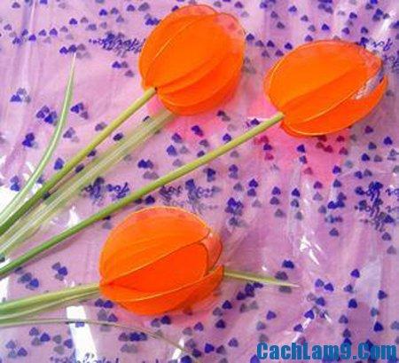 Hướng dẫn làm hoa tulip bằng vải lụa