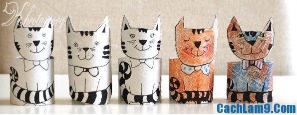 Cách làm con mèo bằng lõi giấy vệ sinh