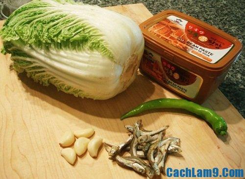 Nguyên liệu làm súp cải thảo đậu nành