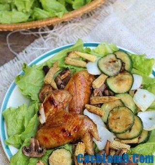 Cách làm cánh gà và rau củ