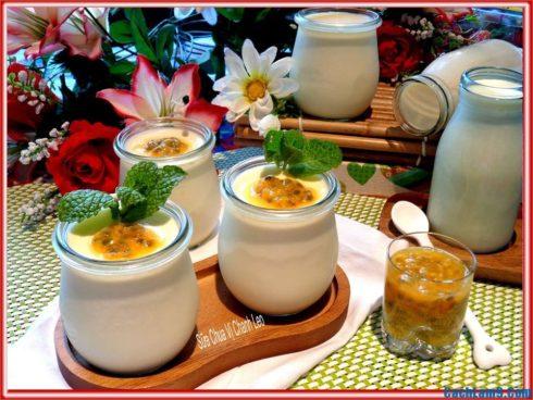 Cách làm sữa chua vị chanh dây, cach lam sua chua vi chanh day