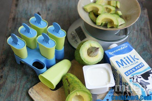 Chuẩn bị nguyên liệu làm kem bơ sữa chua, chuan bi nguyen lieu lam kem bo sua chua