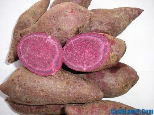 Chuẩn bị nguyên liệu nấu chè đậu xanh khoai lang tím, chuan bi nguyen lieu nau cyhe dau xanh khoai lang tim