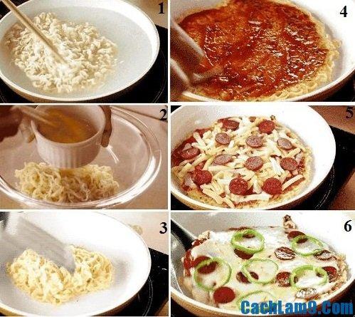Hướng dẫn làm pizza mì tôm: Quy trình các bước làm pizza mì tôm dễ dàng cực nhanh