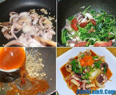 Hướng dẫn làm bạch tuộc xào chua ngọt, quy trình làm bạch tuộc xào chua ngọt