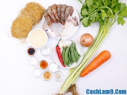 Nguyên liệu, công thức và cách làm mì xào hải sản