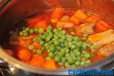 Cách làm sườn non nấu đậu Hà Lan, công thức nấu món sườn non cùng đậu Hà Lan