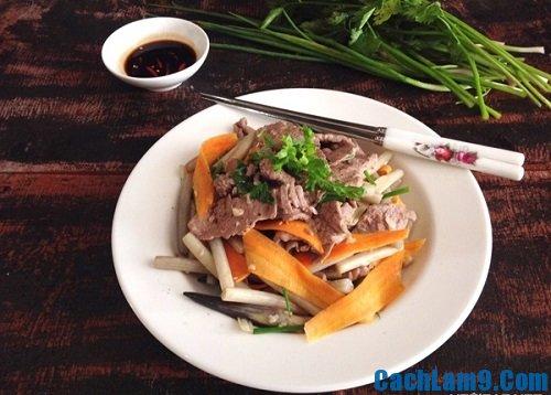 Cách làm thịt bò xào ngó sen, hướng dẫn nấu món thịt bò xào ngó sen