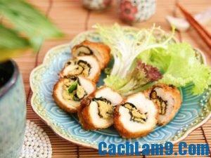 Cách làm gà cuộn rong biển chiên xù