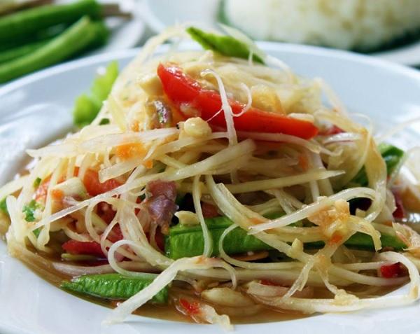 Những món ăn ở Thái Lan. Gỏi đu đủ. Món ăn truyền thống ở Thái Lan